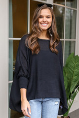 Black - Smocked Sleeve Oversized Top from Dress Up