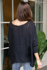 Smocked Sleeve Oversized Top Back View