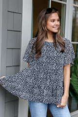 Black - Spotted Tiered Babydoll Top from Dress Up