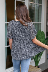 Spotted Tiered Babydoll Top Back View