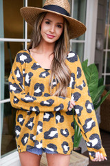Model wearing the Leopard Lightweight Knit Top from Dress Up