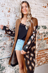 Camel - Leopard Lightweight Knit Cardigan from Dress Up Boutique