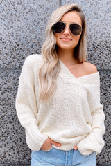 Ivory - Model wearing the Oversized Knit Top