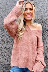 Model wearing the Oversized Knit Top in Blush