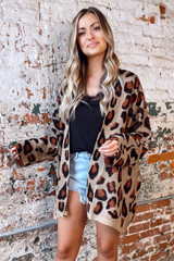 Taupe - Leopard Lightweight Knit Cardigan from Dress Up