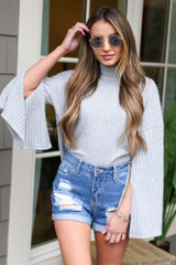 Grey - Mock Neck Statement Sleeve Top from Dress Up