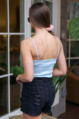 Ribbed Tank in Light Blue Back View