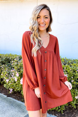 Rust - Model wearing the V-Neck Button Front Babydoll Dress