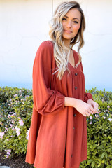 V-Neck Button Front Babydoll Dress in Rust Side View