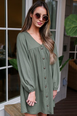 V-Neck Button Front Babydoll Dress in Olive Side View