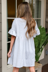 French Terry Ruffle Sleeve Babydoll Dress Back View