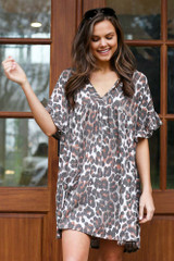 Front View of the Leopard V-Neck Babydoll Dress