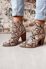 Snake - Pointed Toe Block Heel Booties from Dress Up