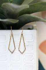 Gold - Rhinestone Trimmed Pendant Earrings from Dress Up