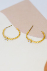 Gold - Rhinestone + Chain Hoop Earrings from Dress Up