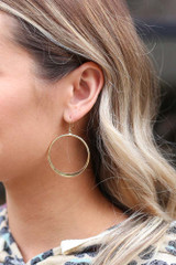 Gold - Drop Hoop Earrings