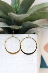Drop Hoop Earrings in Gold