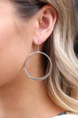 Silver - Model wearing the Drop Hoop Earrings