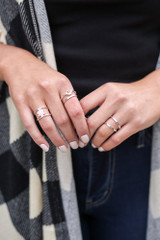 Silver - Model wearing the Assorted Ring Set