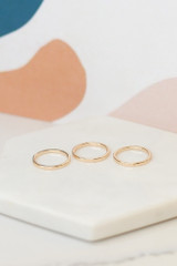 Close up of the three gold bands in the Assorted Ring Set