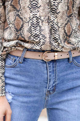 Nude - Close Up of the Faux Crocodile Leather Skinny Belt