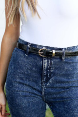 Black - Faux Crocodile Leather Skinny Belt from Dress Up