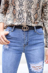 Black - Double O-Ring Skinny Belt from Dress Up
