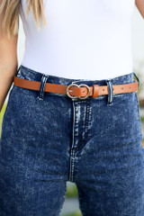 Cognac - Double O-Ring Faux Leather Skinny Belt from Dress Up