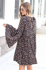 Floral Bell Sleeve Babydoll Dress Back View