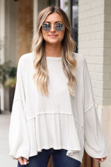 Ivory - Ribbed Knit Oversized Babydoll Top