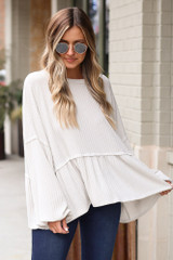Ivory - Ribbed Knit Oversized Babydoll Top from Dress Up