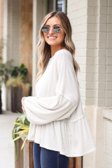 Ribbed Knit Oversized Babydoll Top Side View