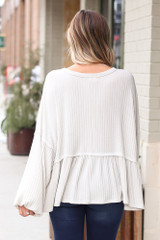 Ribbed Knit Oversized Babydoll Top Back View
