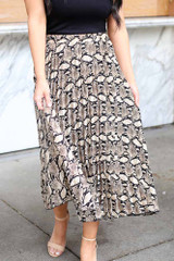 Model from Dress Up wearing the Snakeskin Pleated Midi Skirt Close Up