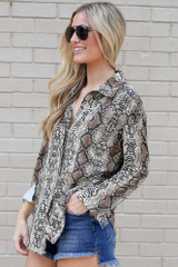 Snakeskin Button Up Blouse Side View