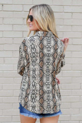 Snakeskin Button Up Blouse Back View