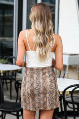 Snakeskin Microsuede Skirt in Gold Back View