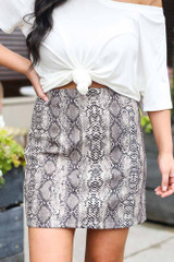 Close Up of the Snakeskin Microsuede Skirt in Taupe