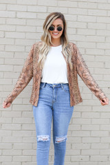 Dress Up model wearing the Snakeskin Microsuede Jacket with a white tank and jeans