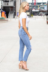 High-Rise Distressed Mom Jeans Side View