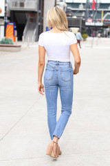 High-Rise Distressed Mom Jeans Back View