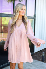 Dress Up model wearing the Faux Satin Babydoll Dress in Blush from Dress Up