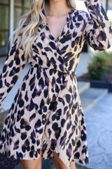 Close Up of the Leopard Wrap Dress
