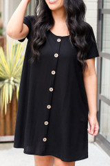 Close Up of the Button Front Dress in Black