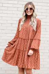 Rust - Smocked Mock Neck Tiered Dress
