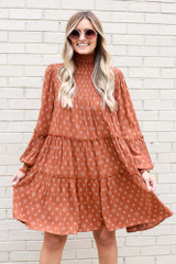 Rust - Smocked Mock Neck Tiered Dress from Dress Up