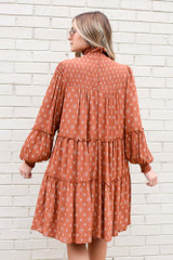 Smocked Mock Neck Tiered Dress Back View