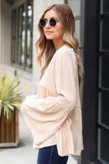 Bell Sleeve Babydoll Blouse Side View