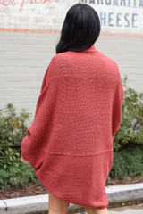Oversized Knit Cardigan in Rust Back View