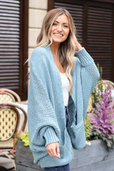 Oversized Knit Cardigan in Sage Side View